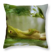 Funny Happy Frog Throw Pillow by Jack Zulli