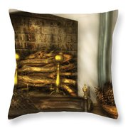 Furniture - Fireplace - A Simple Fireplace Throw Pillow by Mike Savad