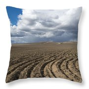 Furrows Before The Storm Throw Pillow by Mike  Dawson