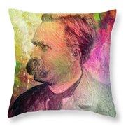 F.w. Nietzsche Throw Pillow by Taylan Apukovska