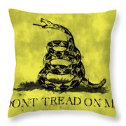Gadsden Flag - Dont Tread On Me Throw Pillow by World Art Prints And Designs