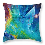 Galactic Angel Throw Pillow by Julie Turner