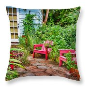 Garden Treasures at Aunt Eden's by Diana Sainz Throw Pillow by Diana Sainz