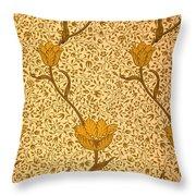 Garden Tulip Wallpaper Design Throw Pillow by William Morris