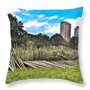 Garden With Bamboo Garden Fence In Battery Park In New York City-ny Throw Pillow by Ruth Hager