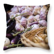 Garlic At The Market Throw Pillow by Heather Applegate