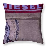 Gas Station Indian Chief Throw Pillow by Garry Gay