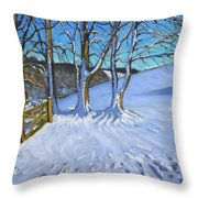 Gate And Trees Winter Dam Lane Derbyshire Throw Pillow by Andrew Macara