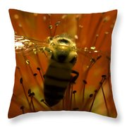 Gathering Nectar Throw Pillow by Camille Lopez