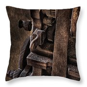 Gears And Pulley Throw Pillow by Susan Candelario