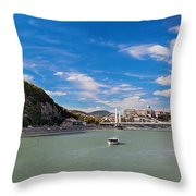 Gellert Hill and Danuber River in Budapest Throw Pillow by Michal Bednarek