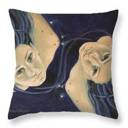 Gemini from Zodiac series Throw Pillow by Dorina  Costras