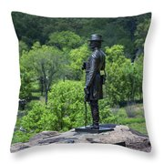 General Kemble Warren At Little Round Top Throw Pillow by John Greim