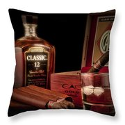 Gentlemen's Club Still Life Throw Pillow by Tom Mc Nemar
