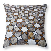 Geometric Marble Floor Design At Lahore Fort Throw Pillow by Robert Preston