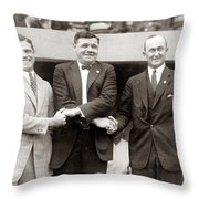 George Sisler Babe Ruth Ty Cobb Throw Pillow by Unknown