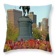 George Washington At The Boston Public Garden Throw Pillow by Juergen Roth
