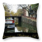 Georgetown Canal Poster Throw Pillow by Olivier Le Queinec
