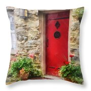 Geraniums By Red Door Throw Pillow by Susan Savad