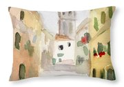 Geraniums Cannaregio Watercolor Painting Of Venice Italy Throw Pillow by Beverly Brown Prints