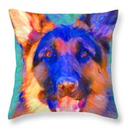German Shepard - Painterly Throw Pillow by Wingsdomain Art and Photography