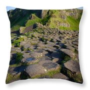 Giant's Causeway Green Peak Throw Pillow by Inge Johnsson