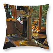 Gillette's Phone and Fan Throw Pillow by Barbara McDevitt