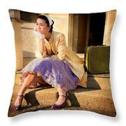 Gina On The Day Al Left Throw Pillow by Theresa Tahara