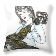 Girl and Tow Throw Pillow by Marwan George Khoury