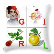Girl Art Alphabet For Kids Room Throw Pillow by Irina Sztukowski
