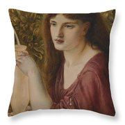 Girl At A Fountain Throw Pillow by Simeon Solomon