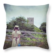 Girl At Gate Throw Pillow by Joana Kruse