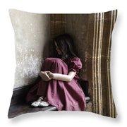 Girl On Pew Throw Pillow by Joana Kruse