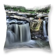 Girl on rock at falls Throw Pillow by Dan Friend