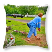 Girl Pretending to be a Horse Pulling a Trailer  Throw Pillow by Ruth Hager