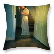 Girl With A Candle Throw Pillow by Jill Battaglia