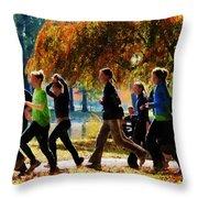 Girls Jogging On An Autumn Day Throw Pillow by Susan Savad