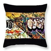 Girls Tag Two Throw Pillow by Trever Miller