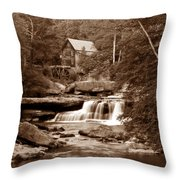 Glade Creek Mill In Sepia Throw Pillow by Tom Mc Nemar