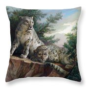 Glamorous Friendship- Snow Leopards Throw Pillow by Svitozar Nenyuk