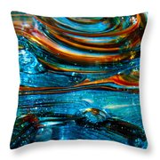 Glass Macro - Blue Swirls Throw Pillow by David Patterson