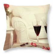 Glasses Of Red Wine Throw Pillow by Amanda And Christopher Elwell