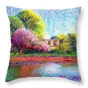 Glastonbury Abbey Lily Pool Throw Pillow by Jane Small
