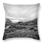 Glen Etive Road And River Throw Pillow by John Farnan