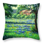 Glen Rose Bluebonnets Throw Pillow by Vickie Fears