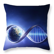 Glowing Earth Dna Strand Throw Pillow by Johan Swanepoel