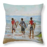 Going For The Surf Throw Pillow by Dominique Amendola