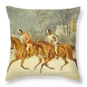 Going Out In A Snowstorm Throw Pillow by Henry Thomas Alken