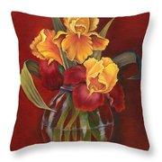 Gold N Red Iris Throw Pillow by Doreta Y Boyd