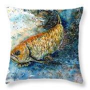 Golden Arowana Throw Pillow by Zaira Dzhaubaeva